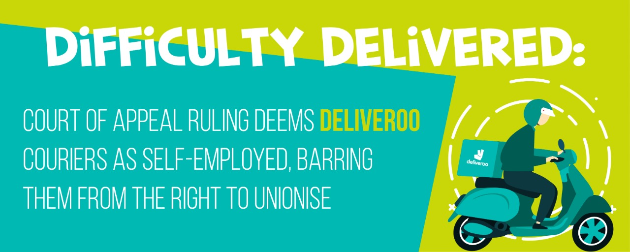 Difficulty delivered: Court of Appeal ruling deems Deliveroo couriers as self-employed, barring them from the right to unionise